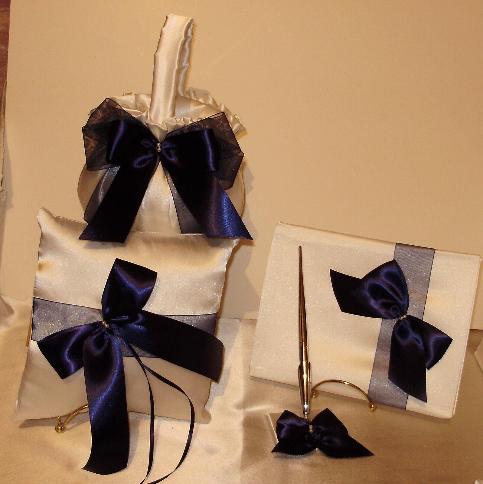 5 PIECE  BRIDAL SET Ring Pillow, 2  Flower Girl  Baskets, Guest Book, and Pen