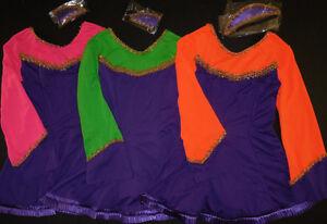 NWT-PURPLE-Irish-Celtic-ruffled-Satin-Hem-Dance-Dress-3-colors-BellSleeve-w-hdpc
