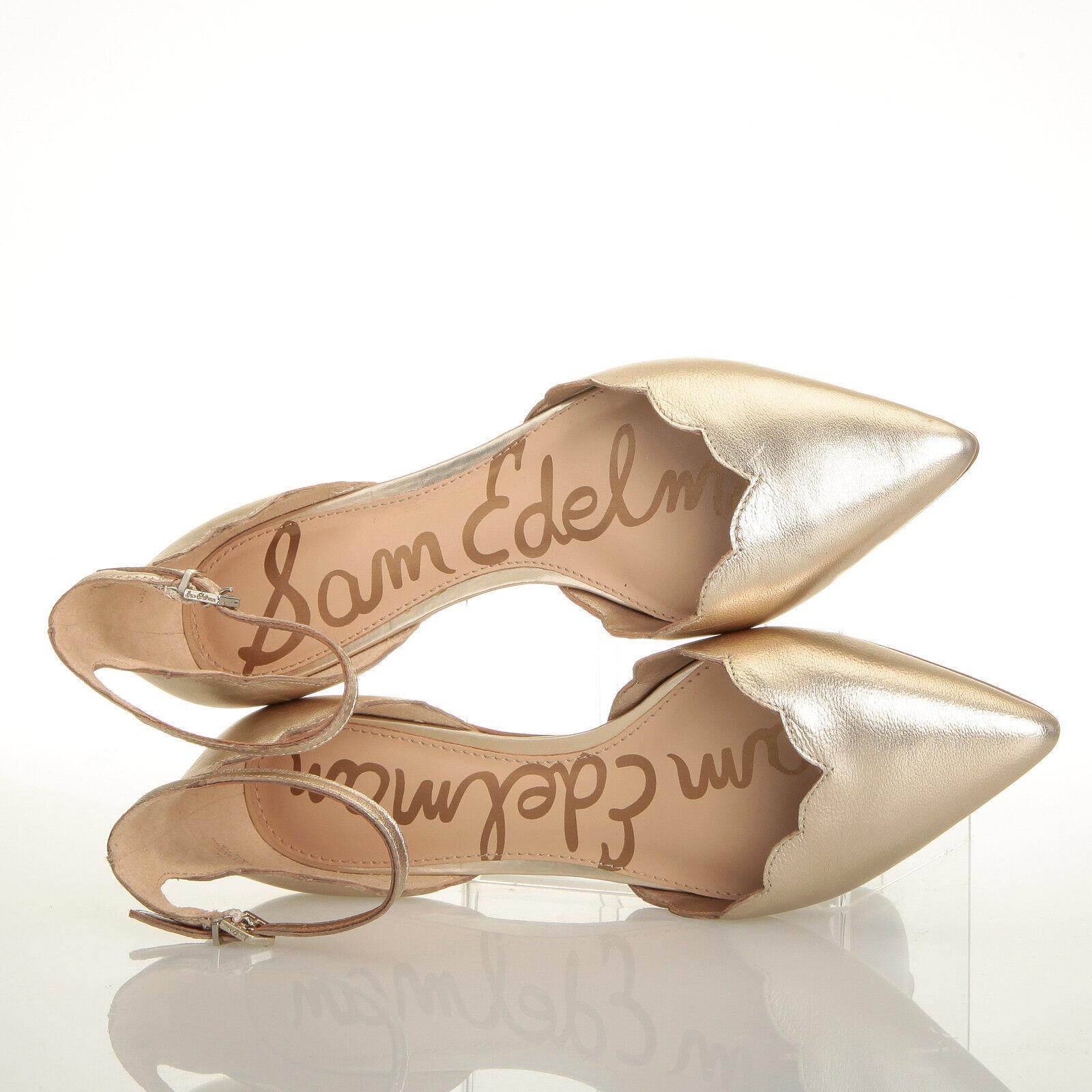 Sam Größe Edelman Rowan Gold Leder Flat Sandales - Größe Sam 7 M 5b848a