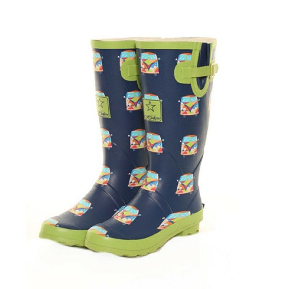 Ladies Girls Festival Fashion Funky Campervan Wellies Wellington Boots Sizes 4-8