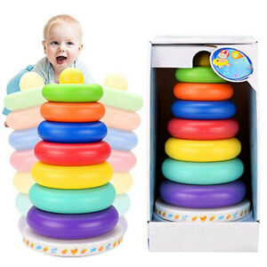Kid-Baby-Toy-Wooden-Stacking-Ring-Tower-Educational-Toys-Rainbow-Stack-Up-Gift