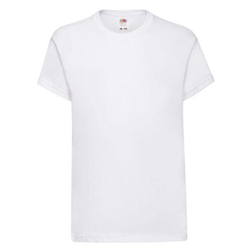 3//5 Pack Uni Blanc Enfants Enfants Garçons Filles T-shirt FRUIT of LOOM École Pe