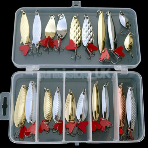 Fishing Spoon Lures Lot 21 Spinner Bait Pike Salmon Bass Sea Trout Crankbait