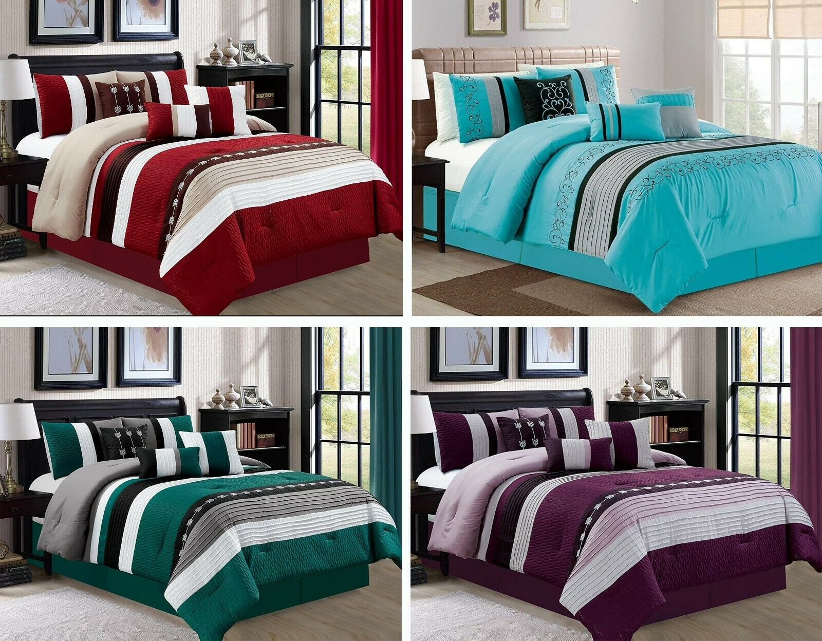 7 Piece OverDimensione Stripe Luxury Micofiber Bed in Bag Microfiber Comforter Set