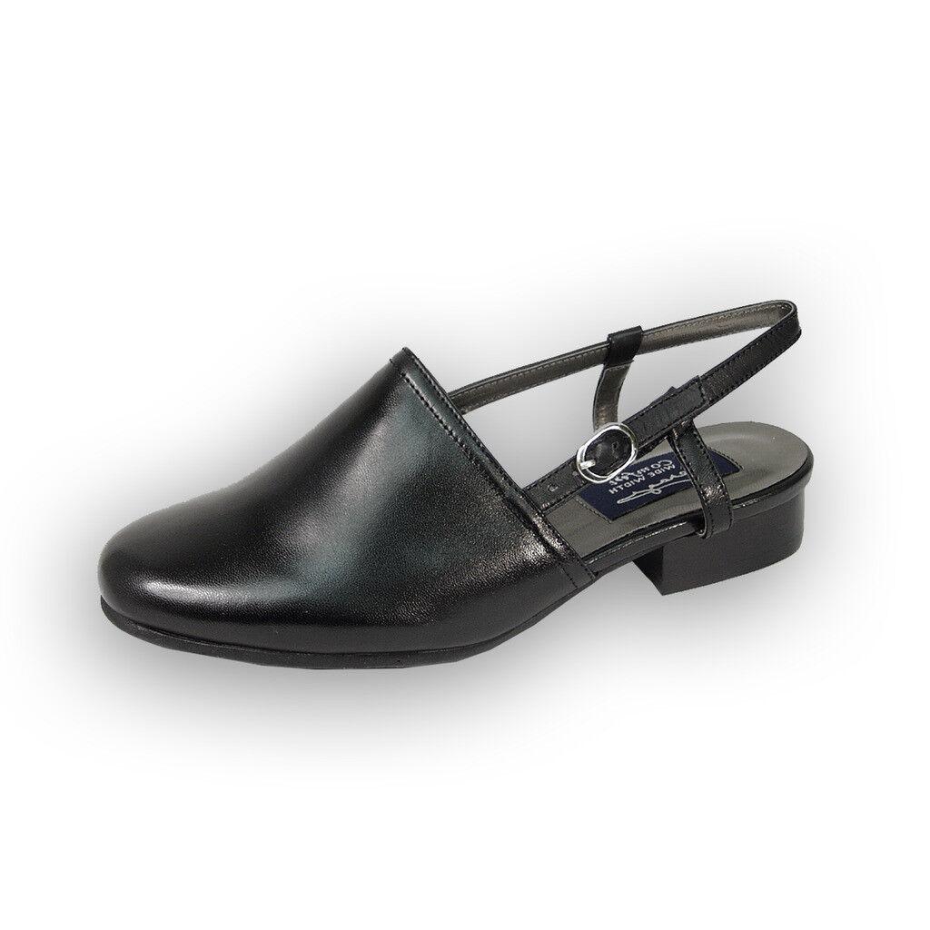 FIC PEERAGE Remi Women Wide Width Closed Toe Low Heeled Leather Slingback Sandal