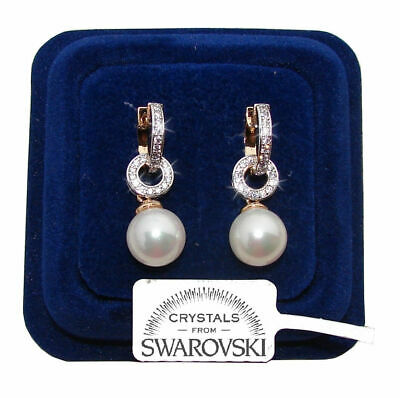 Orecchini da donna pl oro bianco 18K zirconi cristalli swarovski veri SW2//perla
