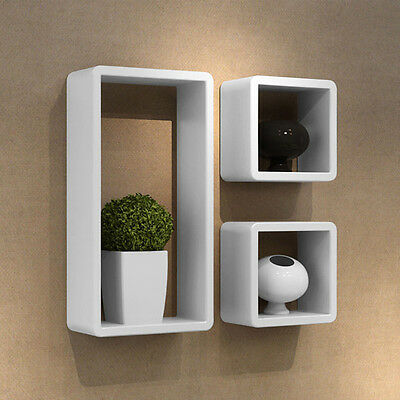 Wall Shelves Cube Shelf White Wooden Book Storage Home Decor Ledge Organizer FDS
