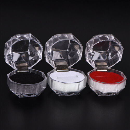Clear Acrylic Jewelry Gift Box for Ring Holder Wedding Engagement Present PipFF
