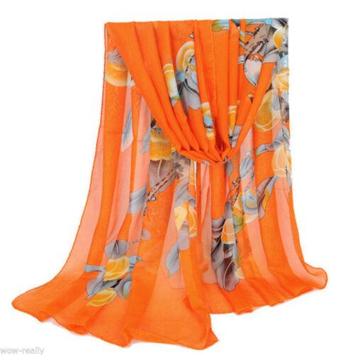 New Fashion Lady Filles Long doux en mousseline de soie écharpe Wrap Châle étole Echarpes