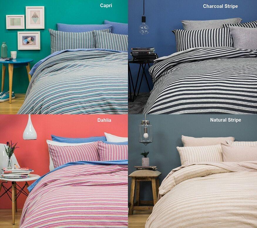 Bambury BedT 100% Cotton Jersey Quilt Doona Cover Set - SINGLE DOUBLE QUEEN KING