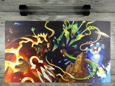 Pokemon Mega Rayquaza Custom Playmat Duel Tcg Ccg Mat Free High Quality Tube Ebay