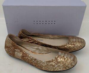 VERA WANG Lavender Lillian LEATHER FLATS 8.5 Metallic Brown Gold Snakeskin Print