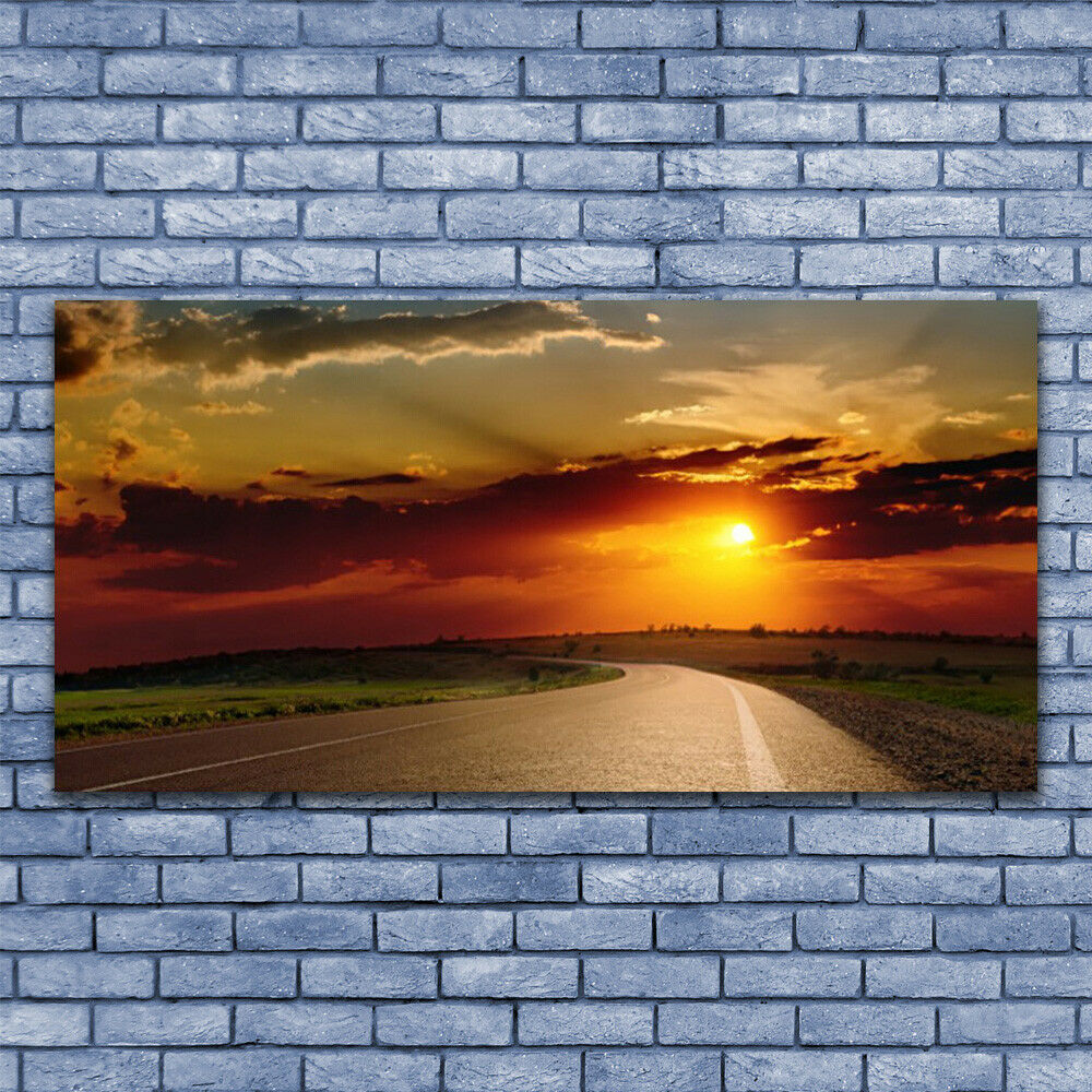 Glass print Wall art 140x70 Image Picture Sunset Road Landscape