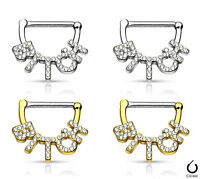 Pair Crystal Paved Bitch Design Nipple Clickers Shields Rings Body Jewelry