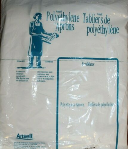 Ansell Plastic Disposable Aprons Food Mates Brand package of 100 per pack