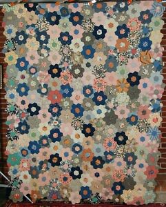 20 39 s vintage grandmother 39 s flower garden antique quilt mint cond great fabrics ebay for Grandmother flower garden quilt pattern variations
