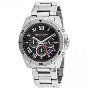 950bd2781b00 Details about NEW Michael Kors Brecken Silver Tone Black Dial MK8438  Chronograph Mens Watch