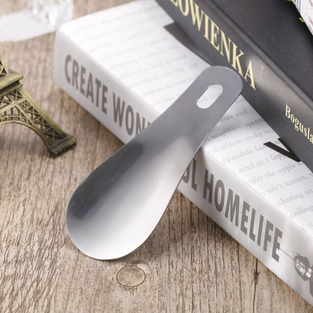 """10cm 4"""" Professional Stainless Steel Metal Shoe Horn Long Shoespooner Spoon O0"""