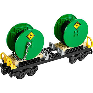 Lego-Train-City-Cargo-Freight-Cable-Reel-Wagon-Railway-Town-Set-from-60052-NEW