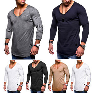 Men-039-s-Blouses-Long-Sleeve-T-Shirt-Slim-Fit-V-Neck-Tops-Shirts-Casual-Muscle-Tee