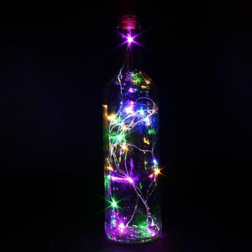 BOUTEILLE VIN FIL DE CUIVRE 2 M 20LED batterie de lumières multi couleur Fée désherbage Partie