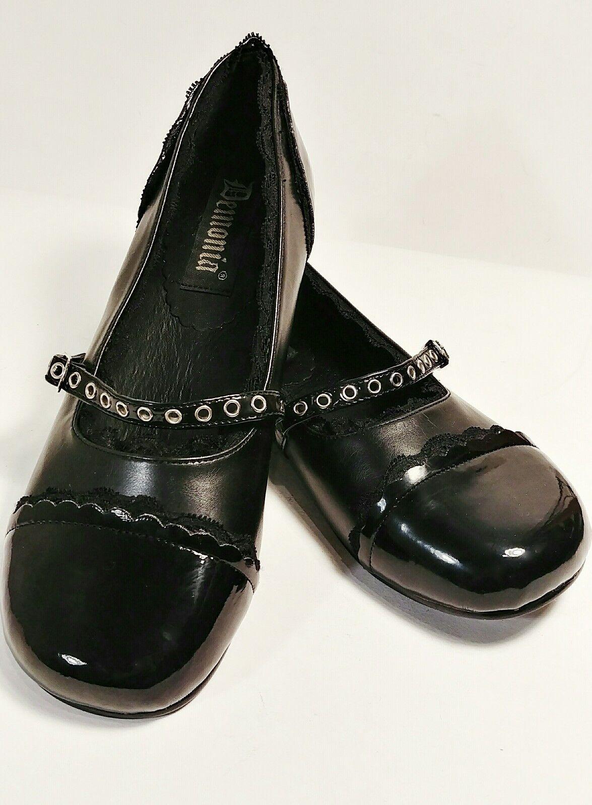 Demonia DAISY-17 Women's Black Vegan Patent Leather Lace Mary Jane Flats Size 8M