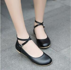 Womens-Mary-Jane-Shoes-Round-Toe-Lolita-Pumps-Ankle-Strap-Sandals-Flats-Loafers