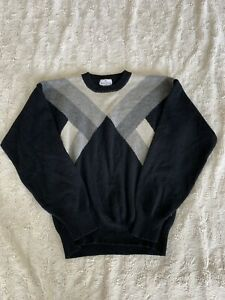 Neiman-Marcus-Scottish-Cashmere-Patterned-Black-And-Grey-Sweater-Fall-Winter