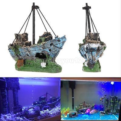 Aquarium Decoration Ornament Sailing Boat Ship Destroyer Fish Tank Cave Decor cb