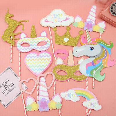 12pcs DIY Photo Booth Prop Party Photo Favor Unicorn Theme Party Glasses Mask  E