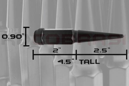 "1999-2002 FORD F-250 F-350 EXCURSION METAL SOLID SPIKE LUG NUTS BLACK 4.5/"" TALL"