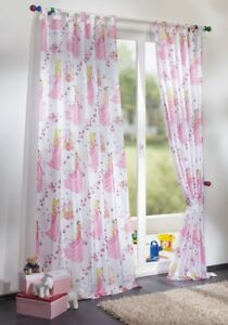 Details zu Kinderzimmer Gardine Schlaufenschal Prinzessin Motiv in weiß  rosa für Mädchen