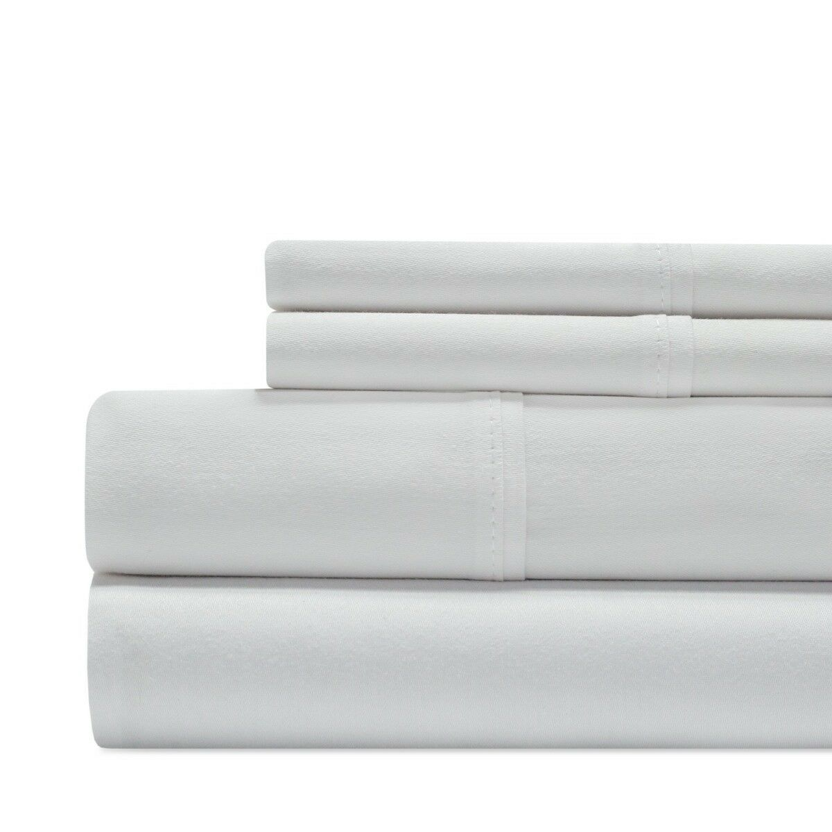 Aspire Linens Luxury 1000 Thread Count Cotton 4 Piece Sheet Set, Queen, White