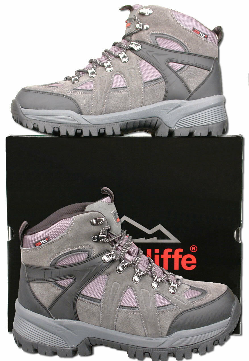 Mens New Grey Leather Waterproof Hiking Trail Boots Size 6 7 8 9 10 11 12 13