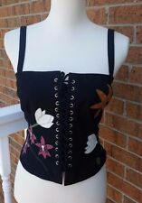 Anthropologie Odille  Black Corset Bustier with Leather Flower Appliques Size 8
