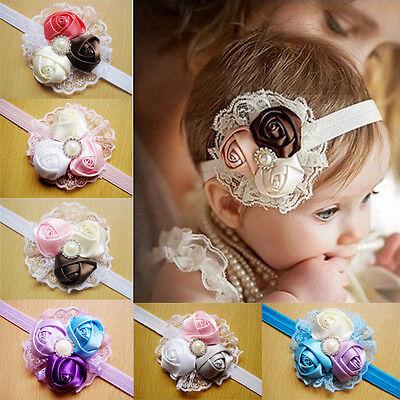 Baby Girls Vintage Lace Flower Hairband Soft Elastic Headband Hair Accessories