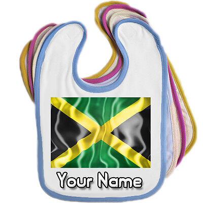 Borde Color Jamaica Bandera Personalizado Babero De Bebé-cualquier nombre gran Bebés Regalo *