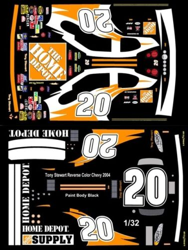 #20 Tony Stewart Reverse Color Chevy 2004 1//32nd Scale Slot Car Waterslide Decal