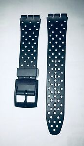 Replacement-17mm-20mm-Watch-Strap-for-SWATCH-Black-with-holes