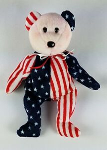 TY Spangle Beanie Baby Pink Face Bear Patriotic USA Retired Plush ... da06091eec