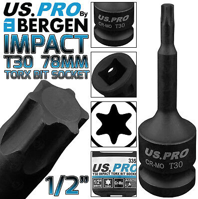 "Star Male Socket By Bergen T30 x 100mm 1//2/"" Drive Short Impact Impacted Torx"
