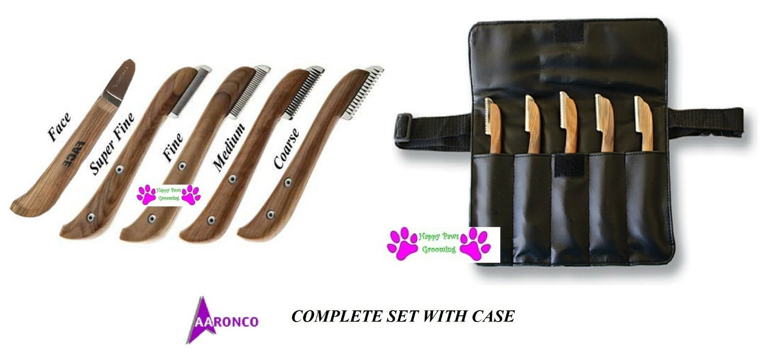 Genuine AARONCO Pro Stripping Knives 5 pc KNIFE SET w Case DOG Grooming Carding