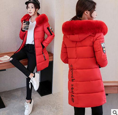 New Women/'s Fur Collar Thicken Hooded Down Cotton Jacket Slim Warm Coat Winter