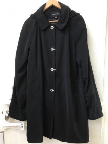 London Fog Women's XL Trench Rain Coat Black Detac