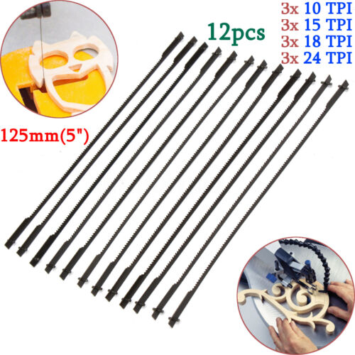 """12Pcs 5/"""" 125mm Pinned Scroll Saw Blades 10//15//18//24 TPI Woodworking Power Tool"""