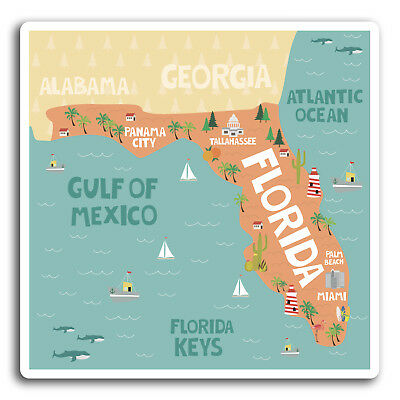 Florida On Usa Map.2 X 10cm Florida Usa Map Vinyl Stickers Sticker Laptop Luggage Gift 19350 7625823116450 Ebay