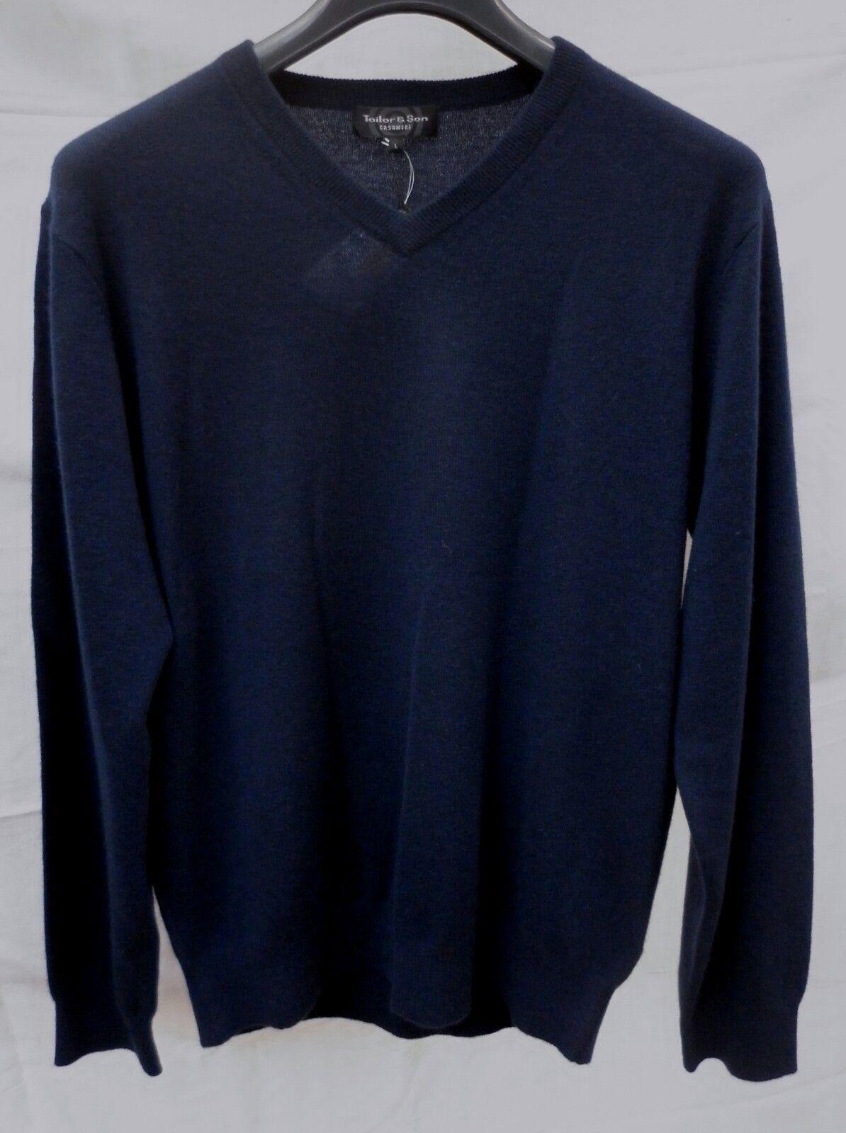 100% Kaschmir Pullover XXL blau TAILOR & SON dunkelblau V-Ausschnitt MARITIM