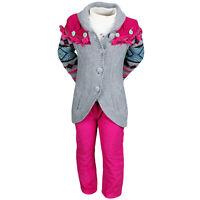 Set Child Clothes Winter Girl Trousers Pink Dark + Vest + T Shirt