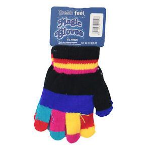 Kids Striped Gloves Girls Boys 4 x Multi Coloured Stripe Gloves Winter School