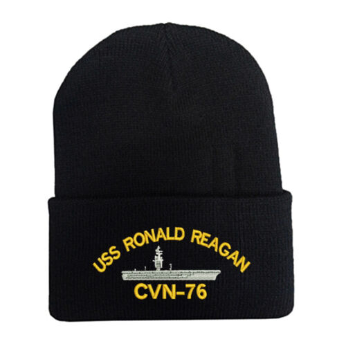 USS RONALD REAGAN CVN-76 CUFF FOLD UP BEANIE WINTER HATS MILITARY